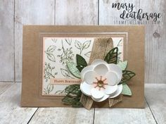 Stampin' Up! Magnolia Lane for the Happy Inkin' Thursday Blog Hop | Stamps – n - Lingers Pink Cards, 3d Cards, Stampin Up Cards, Magnolia Book, Magnolia Stamps, Birthday Thank You Cards, Burlap Ribbon, Small Cards, Flower Images