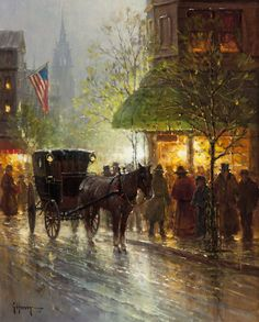 G. Harvey, Corner Market-Boston, oil on canvas, 20 x 16, $48,500.  For more information about this painting, please contact the Great American West Gallery at 817-416-2600. SOLD
