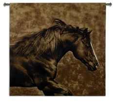 The Eastward Gallop Wall Hanging features a woven rendition of Robert Dawson's artwork.  A beautifully detailed painting of a horse galloping is brought to life with deep shades of earthy browns.  Dawson's unique quality of light and vibrant colors are captured in an array of romantic glimpses by skilled artisans on fine crafted wall tapestries using Jacquard looms and pure cotton yarn.