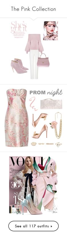 """""""The Pink Collection"""" by kimberlydalessandro ❤ liked on Polyvore featuring ESCADA, Ralph Lauren, Dolce&Gabbana, Valentino, Forever 21, PROMNIGHT, The Future Heirlooms Boutique, Versace, Prada and Roger Vivier"""