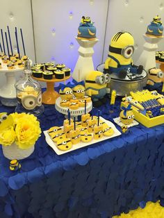 Minions birthday party dessert table! See more party planning ideas at CatchMyParty.com!