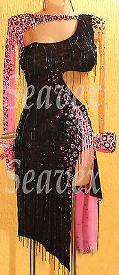 K2913 Fringing ballroom lady latin salsa rumba samba chacha dance dress UK 14