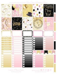 Free Printable New Years Planner Stickers from Planner OneLove