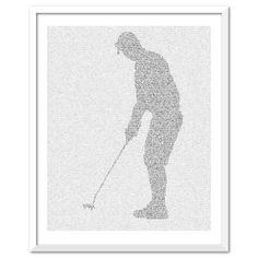 Golf putting text art print