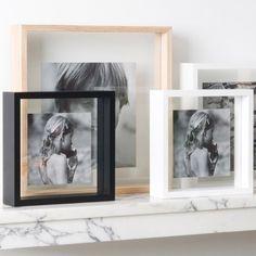 Cadre photo carré bois (3 coloris) contour transparent XL Boom : Decoclico