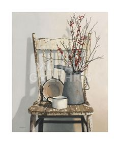 Love this for a corner piece in a rustic kitchen.old tin watering can sitting on an old chair or table