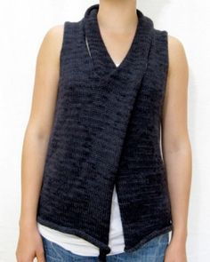 Adrian [Cocoknits] vest with panels criss-crossed around neck to close front. note rolled edge at bottom