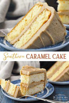 Dessert Cake Recipes, Easy Cake Recipes, Sweet Recipes, Cupcake Recipes, Southern Caramel Cake, Southern Desserts, Food Cakes, Cupcake Cakes, Cupcakes