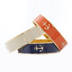 "Bangle Charm Bracelet 3/4 "" -  Anchor in navy"