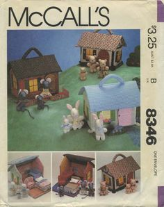 "Vintage Sewing Pattern for Miniature House, Furniture and Families | McCall's 8346 | Year 1982 | House 10"" High x 11"" Wide"