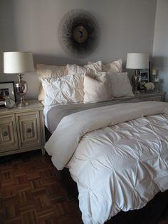 design - 59 - Lovely bedroom design with sunburst mirror, West Elm pin-tuck duvet & ...