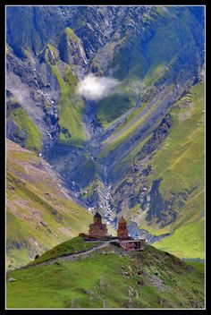 The most famous church in the Caucasus - Kazbegi, Mtskheta-Mtianeti, Georgia 14th Century Copyright: Paul VDV