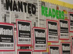 Wanted Readers bulletin board want ads close-up. There are many more excellent bulletin board ideas here as well. Reading Bulletin Boards, Back To School Bulletin Boards, Bulletin Board Display, Classroom Bulletin Boards, Classroom Themes, Preschool Bulletin, Classroom Expectations, Classroom Tools, Classroom Posters