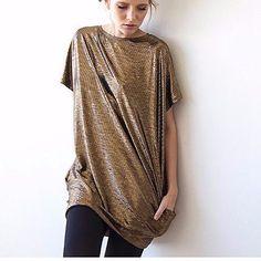 Metallic Tunic With Pockets - Bronze
