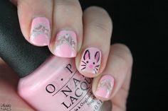 Easter Bunny Lace nail art. OPI - Suzi Shops & Island Hops / OPI - This Gown Needs a Crown / Essie - Lovie Dovie / China Glaze - Liquid Leather / Essence - Stamp Me! White / Bundle Monster - BM-314.