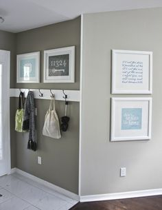 House Ideas--like how tidy this is. Bolt 4 leaf hooks to a white board, clip mirror on other wall.  We have space for a shoe bench too.
