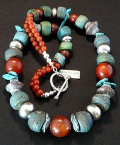 Antique Hebron Glass Bead Necklace with Red Jade, Etched Agate, Kazuri Bicones & Discs, Turquoise Briolette, Carnelian and Sterling Silver