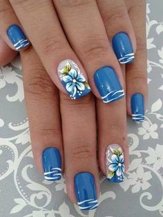 26 New Nail Designs for Spring - Nail Art Designs 2020 Pretty Nail Art, Cute Nail Art, Cute Nails, Nail Art Blue, Blue And White Nails, Spring Nail Art, Spring Nails, Summer Nails, Spring Art