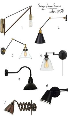 Swing arm wall lamps aren't just for reading anymore. Ideas for where else to use them in your house. Lamp Design, Lamp, Wall Lamps Bedroom, Wall Lamp, Rustic Lamps, Room Lamp, Decorative Table Lamps, Bedroom Lamps, Swing Arm Wall Lamps