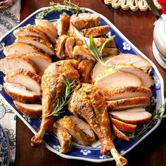 Spatchcocked Herb-Roasted Turkey Recipe -This moist and tender turkey cooks up with even browning and crispy skin in half the time of a whole turkey. —Matthew Hass, Taste of Home Test Cook Roast Turkey Recipes, Stuffing Recipes, Turkey Brine, Beef Recipes, Slow Cooker Turkey, Cooking Turkey, Thanksgiving Recipes, Holiday Recipes, Thanksgiving Turkey