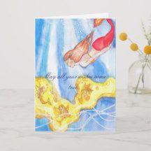 Mermaid Birthday Card sea fairies and a mermaid