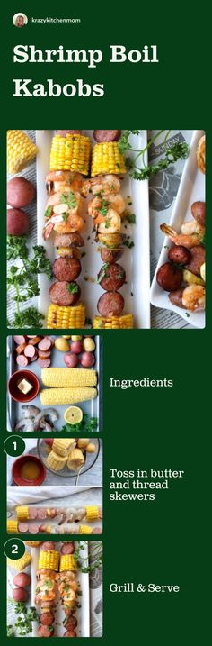Shrimp Boil Kabobs (Skewers) It's officially summer and time to fire up the grill for a summertime southern-style shrimp boil with big shrimp, corn, sausage, potatoes, and spices. Unique Recipes, Easy Recipes, Great Recipes, Easy Meals, Healthy Recipes, Weeknight Meals, Recipe Ideas, Kabobs, Skewers