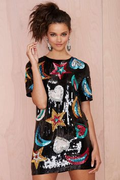 nasty gal. constellate sequin shift dress. #fashion https://www.facebook.com/SLcomunidad