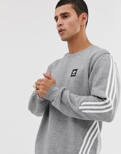 Adidas Skateboarding Sweatshirt with 3 Stripes in Grey at ASOS. Adidas Vintage, Adidas Jacket Mens, Addidas Shirts, Cool Jackets For Men, Nike Clothes Mens, Jersey Outfit, Mens Clothing Styles, Men's Clothing, Asos