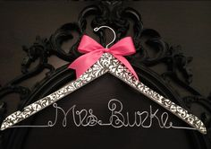 Damask Bride Hanger, Damask Wedding, Bridal Hanger, Wedding Hanger, Brides Hanger, Personalized Hanger, New Last Name Hanger, Damask. $35.00, via Etsy.