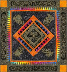 """""""Feather Fantastique"""" by Jamie Wallen, quilted with gold thread, Superior Threads blog"""