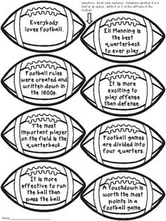 Fact and Opinion Craftivity (featuring football) School Hallway Displays, School Hallways, Creative Bulletin Boards, Fact And Opinion, Student Reading, Interactive Notebooks, Facts, Football, Soccer