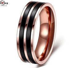 [Visit to Buy] NFS Rose Gold-Color Enamel Rings For Women Wedding Engagement Ring Sand Blasted Stainless Steel Jewelry #Advertisement
