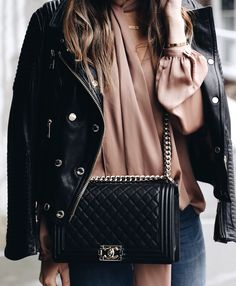 Blush Blouse, Leather Jacket, Chanel Boy Bag