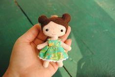 Tiny Felt Doll Pattern Pocket Doll With Dress - Miniature Doll Printable Pattern