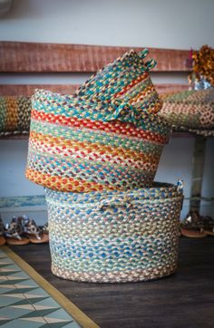 Braided rugs, placemats and baskets return…
