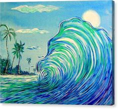Surfing Canvas Print featuring the painting Surfart by W Gilroy