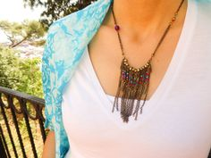 Beaded ethnic necklace feather colorful boho by Handemadeit