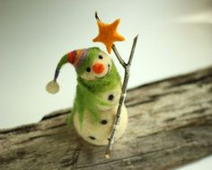 Happy White Snowman Christmas Home Decoration by FeltArtByMariana, $36.00