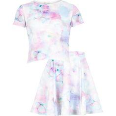 "Girls blue floral top and skirt set ""20 #riverisland #RIKidswear"