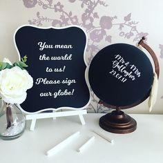 Chalk board globe wedding guestbook alternative guestbook
