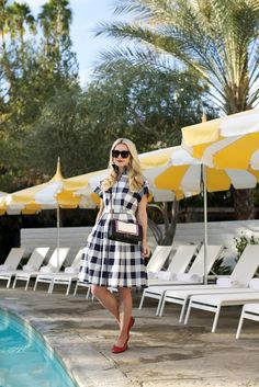pool // time | // Atlantic-Pacific Dress (also got this similar gingham dress in pink and this adorable gingham sweater). Flats: Chanel (similar). Sunglasses: Celine. Bag: Chanel. Lips: Stila. Feb 2016 - Eliza J gingham dress shirtdress blue nordstrom