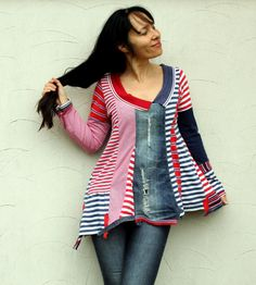 Crazy striped recycled denim polo shirt blouse by jamfashion, $89.00