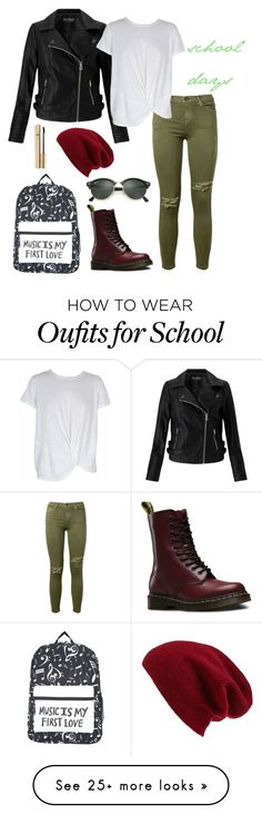 """School days"" by fieryice on Polyvore featuring Current/Elliott, Miss Selfridge, MINKPINK, Dr. Martens, Ray-Ban, Halogen and Dolce&Gabbana"
