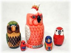 Parrot 5-piece Russian Wood Nesting Doll