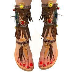 Στολισμένα δερμάτινα σανδάλια με καστόρινες τρέσες  boho sandals