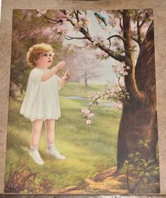 Victorian Antique Adelaide Hiebel THE BLUEBIRDS SONG OF SPRING Print