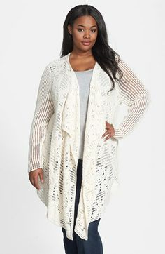 Lucky Brand 'Sausalito' Mixed Stitch Cardigan (Plus Size) available at #Nordstrom