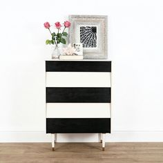 Black and white painted upcycled teak chest of drawers