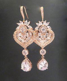Rose gold Wedding earrings Bridal earrings by treasures570 on Etsy