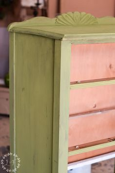 This post is full of inspiration for green painted furniture! Plus, there's a full tutorial on how to use green milk paint to update an old chest of drawers. #greenpaintedfurniture